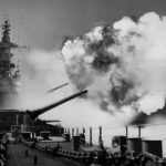 USS Iowa fires salvo from one of three 16 inch turret