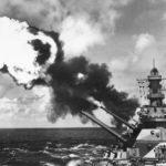 USS Iowa firing 16 inch guns in Pacific 1944