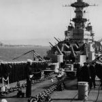 USS Iowa officers and men stand at attention