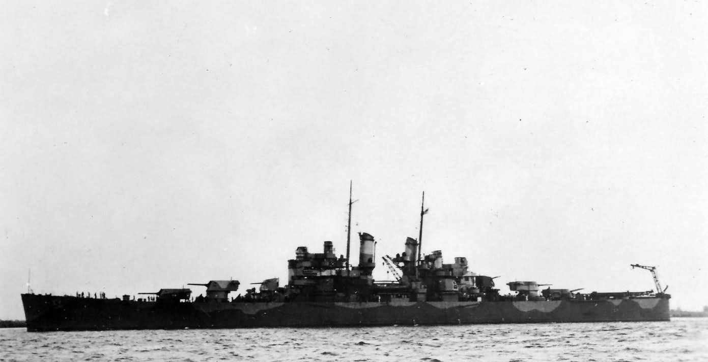 light cruisers USS Columbia CL-56 in camouflage