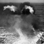 16 Inch main batteries fire salvo from Battleship USS South Dakota BB-57 1943