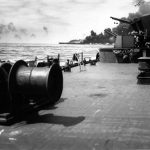 Burning USS Bunker Hill 11 May 1945
