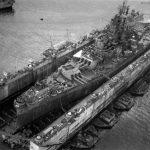 USS South Dakota in Drydock Guam 1945