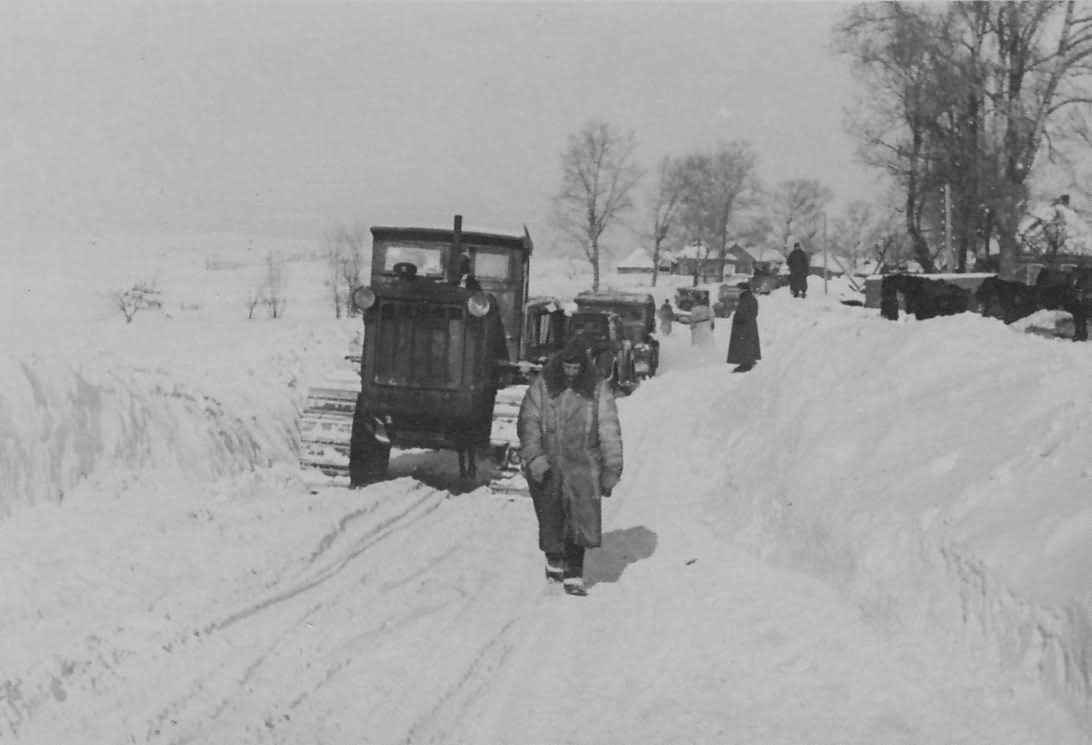 Russian Stalinetz S-65 tractor winter
