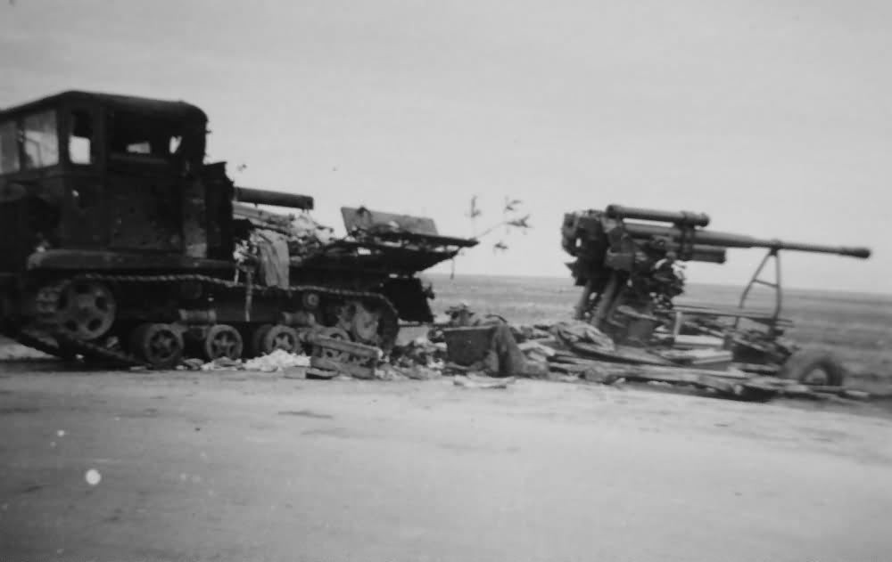 Soviet Artillery Tractor STZ-5 and AA gun