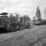 Soviet tractor Kommunar towing gun