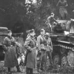 Tank KV-1 and german troops