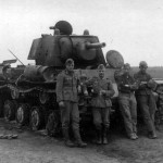 KV-1 tank and wehrmacht soldiers