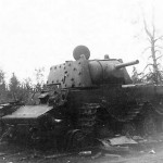 Soviet heavy tank Kliment Voroshilov KV-1 with additional armour