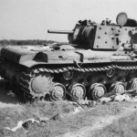 KV-1 tank with additional armour rear view
