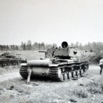 Soviet heavy tank Kliment Voroshilov KV-1 with additional armor