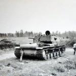 Soviet heavy tank Kliment Voroshilov KV-1 with additional armor