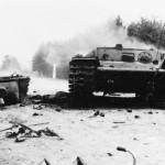 Burning KV1 heavy tank 1941