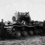 German soldiers examining knocked out KV-1 tank 5