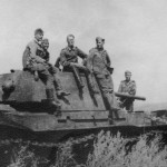 German troops inspect heavy tank KV-1 model 1941
