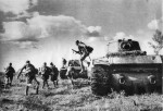 KV1 tanks and Russian Troops in Action near Stalingrad