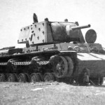 knocked out tank KV-1 with additional applique armour