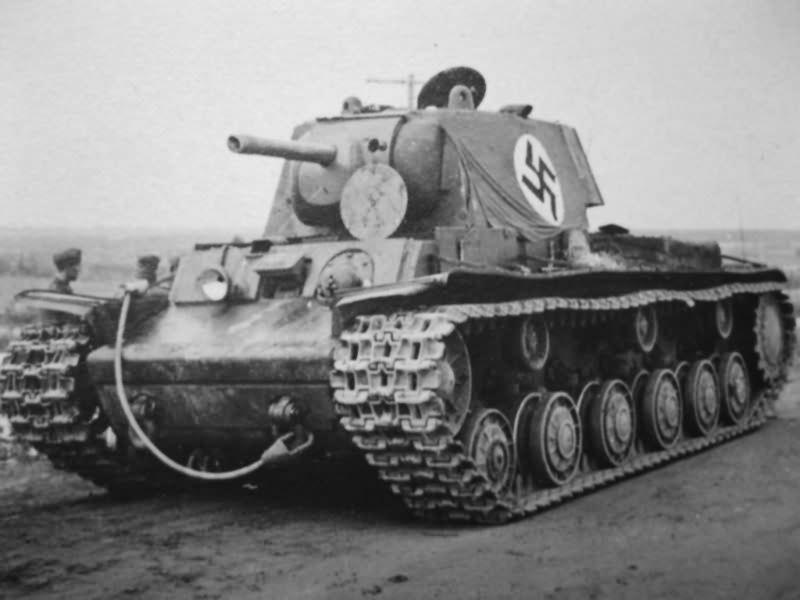 Abandoned KV1 with German flag | World War Photos