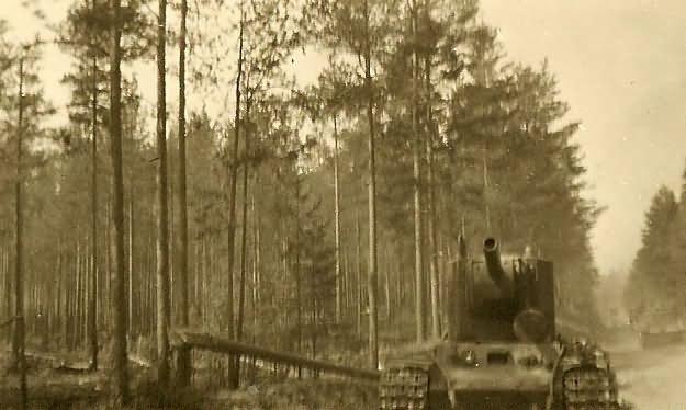 Abandoned russian KV-2 152mm gun armed tank on road