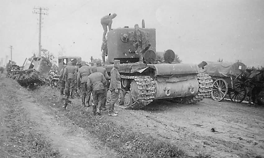 Heavy assault tank KV-2 on road after capture by German forces, Summer 1941