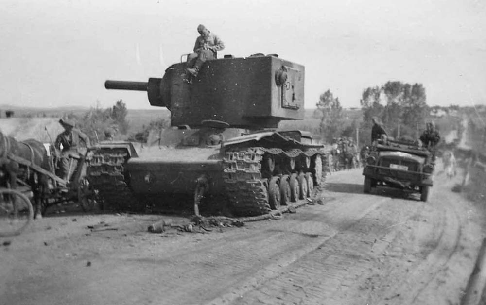 KV-2 tank on a typically primitive Russian road