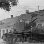 Abandoned russian KV 2 tank
