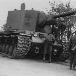 German soldiers inspecting KV2 tank