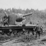 Heavy assault tank KV-2 stuck in the swamp