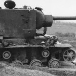 KV-2 heavy tank destroyed on the roadside