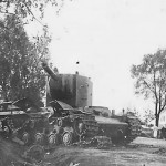 KV-2 russian heavy tank. Tank was destroyed by artillery fire.