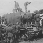 KV-2 tank and wehrmacht soldiers
