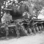 German soldiers examining knocked out KV2 tank 1941 4