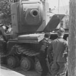 German soldiers examining knocked out KV2 tank 1941 6