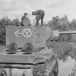 KV2 tank with markings: 12th Panzer division. Side of the turret is used as German road sign