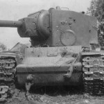 Soviet WW2 heavy tank KV-2 with numerous hits on turret