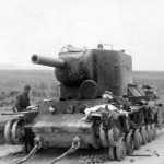 Tank KV2 with a bullet holes in its turret