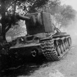 Tank KV2 slipped off the road - Eastern Front 1941