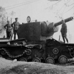 abandoned KV-2 heavy assault tank with the M-10 152 mm howitzer
