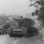 abandoned KV-2 tank on road 1941