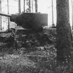 destroyed soviet tank KV 2 model 1941
