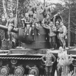 heavy tank KV 2 and wehrmacht soldiers
