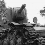knocked out KV-2 tank with 152 mm howitzer
