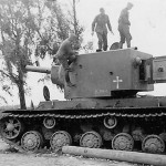 Knocked out heavy assault tank KV-2 after capture by German forces, Summer 1941
