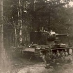 Abandoned KV-2 tank – turret in 9-o'clock position