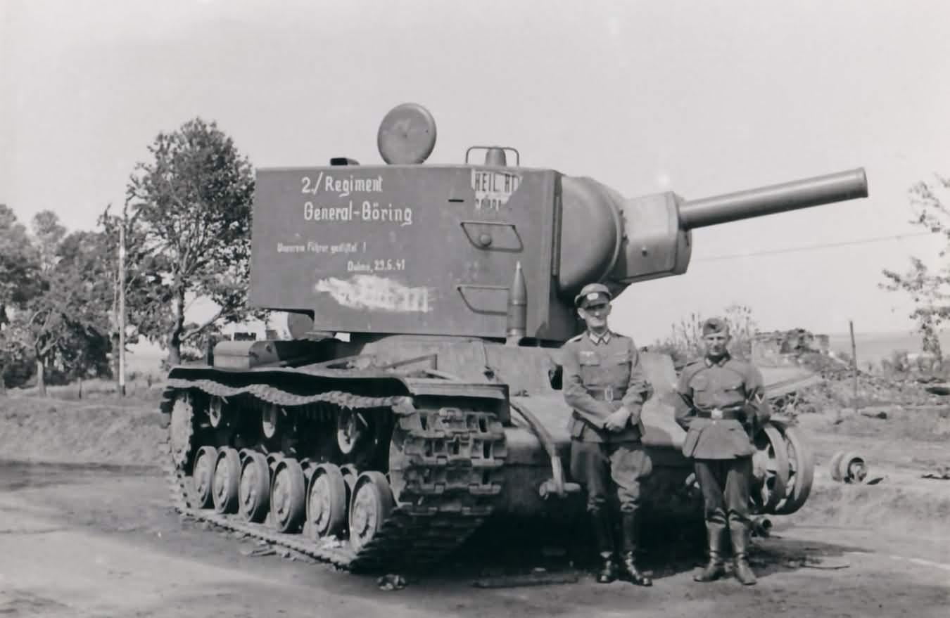 KV-2 tank a road sign