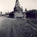 KV-2 heavy tank abandoned on the roadside