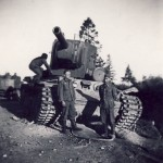 KV-2 heavy tank and wehrmacht soldiers