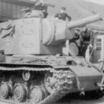 KV2 (Климент Ворошилов, КВ-2) tank with commander's cupola of a Panzer III/ IV
