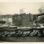 KV-2 heavy tank captured by the Germans, side of the turret is used as road sign