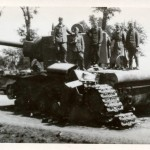 KV-2 russian heavy tank with damaged drive system.